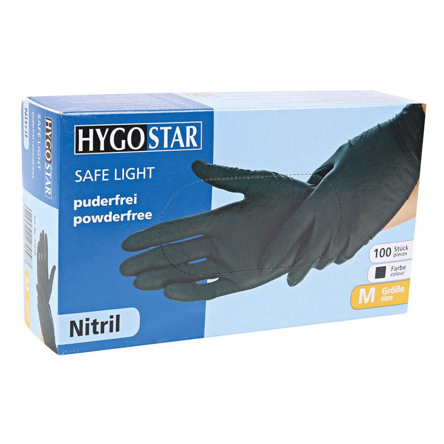 *NOLIKTAVĀ Nitrila cimdi, nepūderēti «Safe light», melnā krāsā, 100 gab / gb