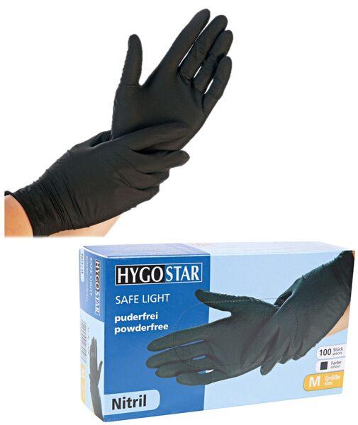 Nitrila cimdi, nepūderēti «Safe light», melnā krāsā, 100 gab / gb