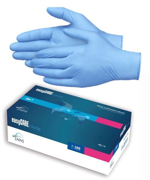*NOLIKTAVĀ Nitrila cimdi, nepūderēti «Easy CARE», zilā krāsā, 100 gab / gb